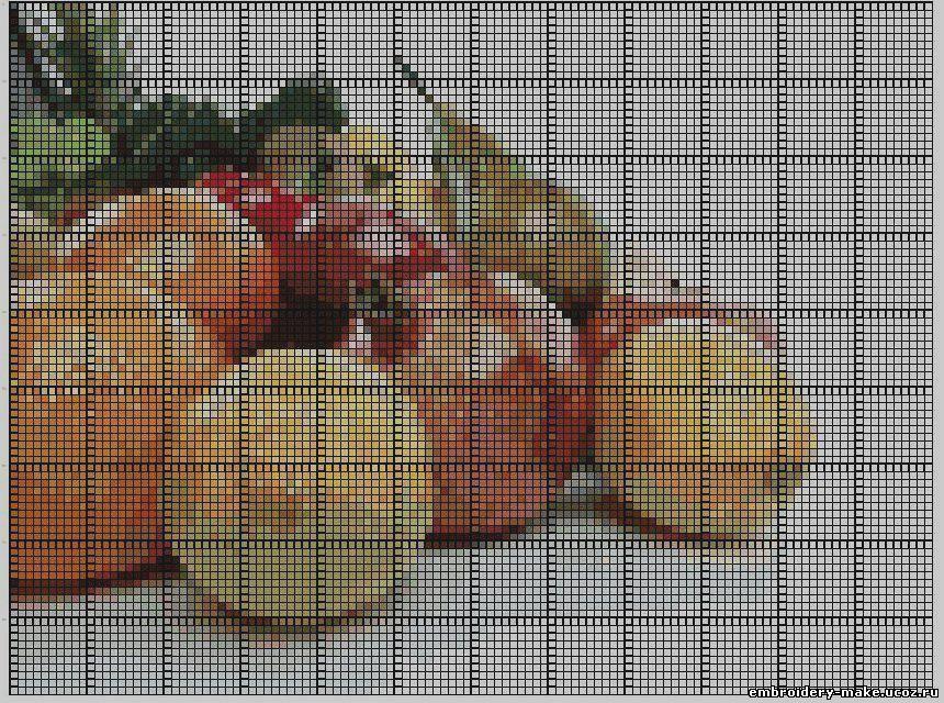 Натюрморт с фруктами - Схема вышивки крестом Иголочка