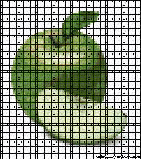 Яблоко,схема вышивки.