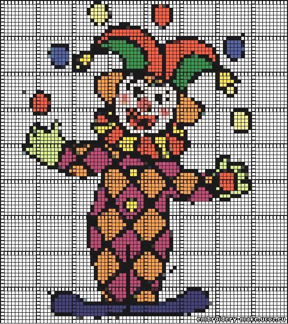 Схема вышивки клоун - Мои
