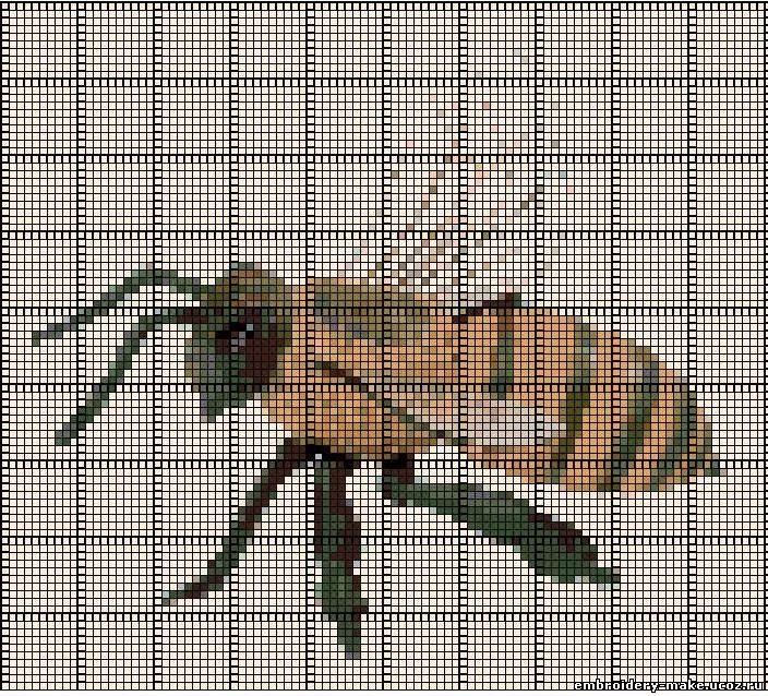 Схема вышивки пчелы