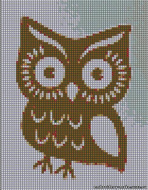 Схема вышивки совы.