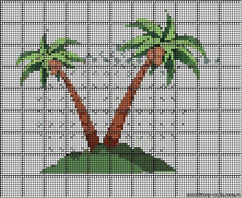Вышивка пальмы.