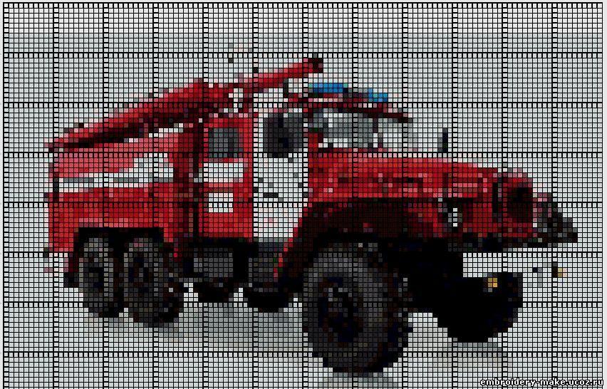 Схема вышивки пожарная машина.