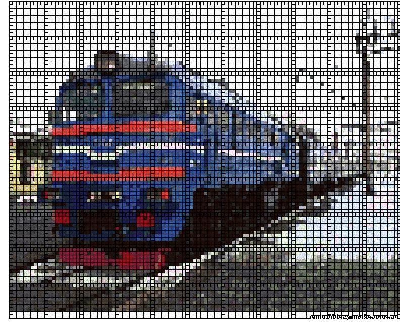 Схема вышивки поезд - Мои