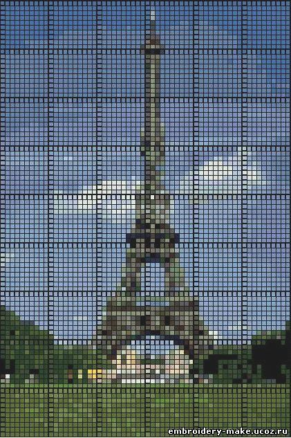 Эйфелева башня схема вышивки