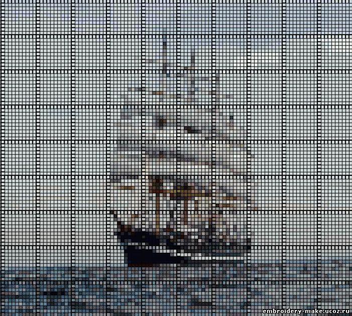 Корабль схема вышивки.
