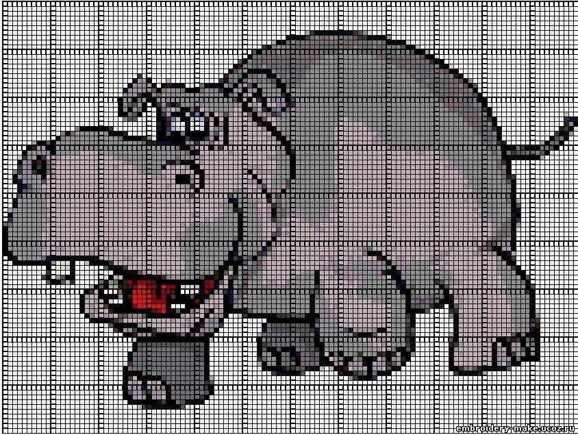 схему вышивки бегемота