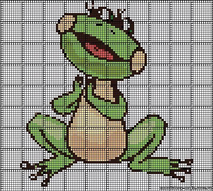 Схема вышивки крестом лягушка.