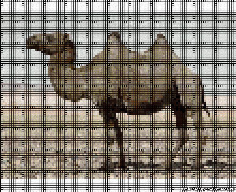 Верблюд схема вышивки крестом.