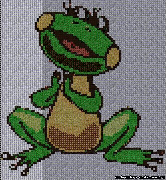 Схемы вышивки крестиком лягушки и жабы 12